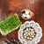easter composition of catkins eggs and cress on wooden table stock photo © przemekklos