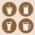 set of coffee cup icon badges stock photo © punsayaporn