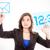 деловой · женщины · указывая · пальца · виртуальный · кнопки · Мир - Сток-фото © pxhidalgo