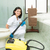 cleaning lady with steam machine logos removed stock photo © pxhidalgo
