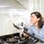 mujer · limpieza · encimera · de · la · cocina · esponja · casa - foto stock © pxhidalgo