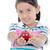 прелестный · ребенка · девушки · еды · красное · яблоко · за · пределами - Сток-фото © pxhidalgo