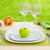 apple plate with fork and knife against meadow table arrangement stock photo © pxhidalgo