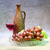 still life with clay bottle grapes and glass on canvas stock photo © pzaxe