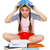 Young girl with book on head stock photo © pzaxe