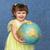 aranyos · kislány · tart · földgömb · portré · lány - stock fotó © pzaxe
