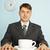 бизнесмен · пьяный · кофе · запись · количество · черный · кофе - Сток-фото © pzaxe