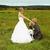 結婚式 · カップル · 草原 · キス · 花嫁 · 新郎 - ストックフォト © pzaxe