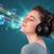güzel · genç · kadın · kulaklık · şarkı · söyleme · gözleri · kapalı - stok fotoğraf © ra2studio