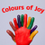 Colorful happy finger smileys with colours of joy sign stock photo © ra2studio