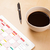 local · de · trabalho · calendário · copo · café - foto stock © ra2studio