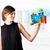 genç · kadın · bakıyor · modern · tablet · renkli · diyagramları - stok fotoğraf © ra2studio