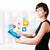 genç · kadın · bakıyor · modern · tablet · renkli · simgeler - stok fotoğraf © ra2studio