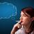 Beautiful lady smoking cigarette with idea cloud stock photo © ra2studio