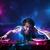 диск-жокей · играет · музыку · световыми · эффектами · фары · молодые - Сток-фото © ra2studio