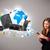 年輕女子 · 常設 · 電話 · 美麗 · 因特網 · 地球 - 商業照片 © ra2studio
