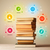 books on top with colorful symbols on vintage background stock photo © ra2studio