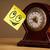 nota · rosto · sorridente · relógio · despertador · escritório - foto stock © ra2studio