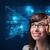młoda · kobieta · patrząc · futurystyczny · smart · wysoki · tech - zdjęcia stock © ra2studio