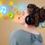 genç · kadın · kulaklık · güzel · kabarcıklar · müzik - stok fotoğraf © ra2studio