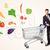 biznesmen · koszyk · warzyw · popychanie · zdrowych · na · zewnątrz - zdjęcia stock © ra2studio