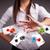 mulher · jovem · jogar · pôquer · cartões · batatas · fritas · bastante - foto stock © ra2studio