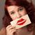 boldog · csinos · nő · tart · kártya · csók · rúzs - stock fotó © ra2studio