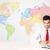 uomo · d'affari · colorato · mappa · del · mondo · imprenditore · seduta · bianco - foto d'archivio © ra2studio