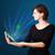 jonge · vrouw · naar · moderne · tablet · abstract · lichten - stockfoto © ra2studio