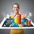 jonge · vrouw · tablet · kleurrijk · grafieken · diagrammen - stockfoto © ra2studio
