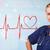 jonge · verpleegkundige · luisteren · abstract · pols · Rood - stockfoto © ra2studio