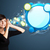 Young woman with abstract modern speech bubble stock photo © ra2studio