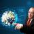 zakenman · aanraken · 3D · aarde · paneel · permanente - stockfoto © ra2studio
