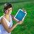 jonge · vrouw · naar · moderne · tablet · jonge · zakenvrouw - stockfoto © ra2studio