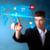 businessman pressing social media button on digital map stock photo © ra2studio