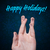 happy group of finger smileys with holidays sign on blue background stock photo © ra2studio