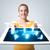 mooie · vrouw · moderne · tablet · sociale · iconen - stockfoto © ra2studio