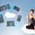 young girl sitting on cloud enjoying cloud network service stock photo © ra2studio