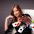 mulher · jovem · cassino · jogos · de · azar · terno · preto · sucesso - foto stock © ra2studio