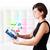 genç · iş · kadını · bakıyor · modern · tablet · renkli - stok fotoğraf © ra2studio