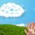 boldog · derűs · emotikon · ujjak · néz · felhő - stock fotó © ra2studio