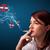 Young woman smoking dangerous cigarette with no smoking signs stock photo © ra2studio