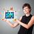 kadın · modern · tablet · renkli · diyagramları - stok fotoğraf © ra2studio