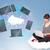 若い女の子 · 座って · 雲 · クラウドネットワーク · サービス - ストックフォト © ra2studio