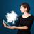 jonge · vrouw · naar · moderne · tablet · abstract · wolk - stockfoto © ra2studio