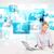 üzletember · asztal · modern · tech · képek · kék - stock fotó © ra2studio