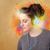 女性 · 壁 · ヘッドホン · 立って · 首 - ストックフォト © ra2studio