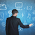 zakenman · tekening · digitale · marketing · glas · geslaagd - stockfoto © ra2studio