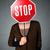若い女性 · 一時停止の標識 · 小さな · 女性 · 立って - ストックフォト © ra2studio