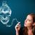 genç · kadın · sigara · içme · tehlikeli · sigara · toksik · kafatası - stok fotoğraf © ra2studio